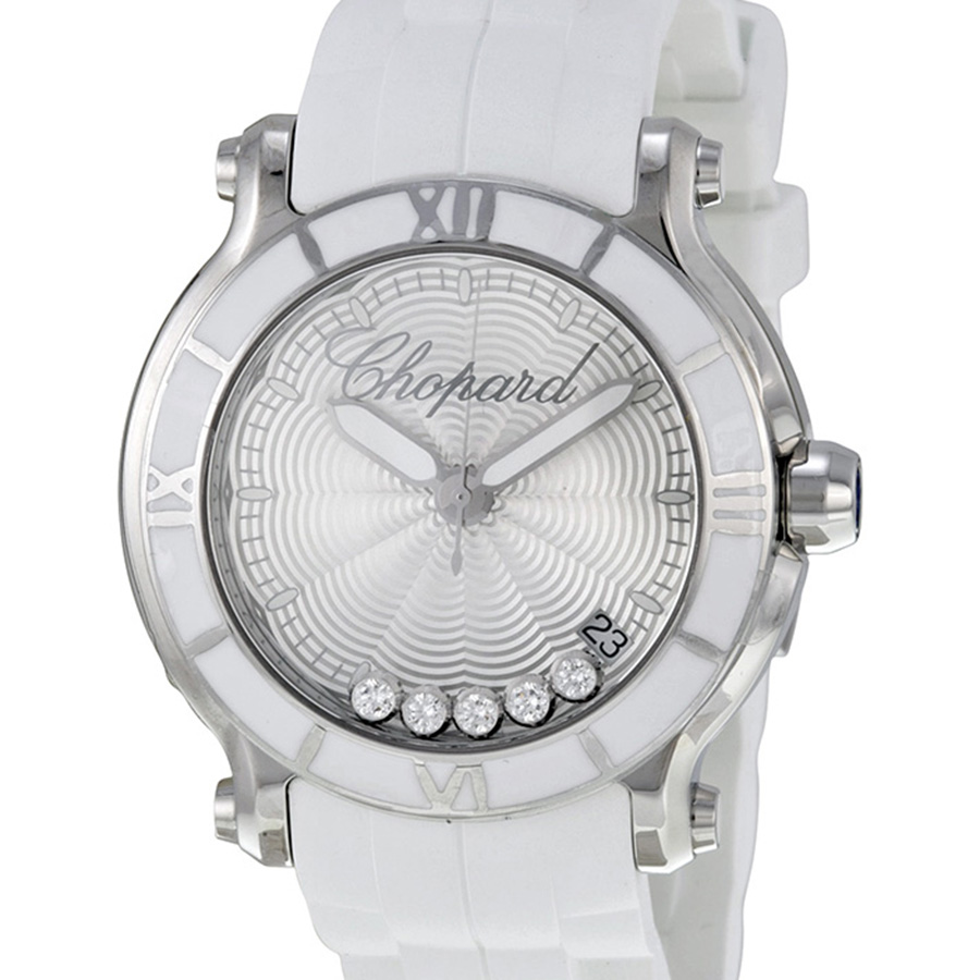 Швейцарские часы Chopard   Happy Sport Silver Dial Floating Diamond Ladies 36 mm