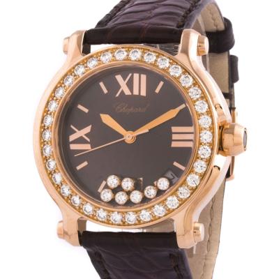 Швейцарские часы Chopard Happy Sport Round Diamonds in Rose Gold 36mm